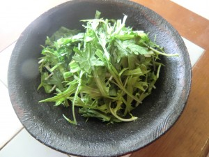 15.3.17水菜と春菊のサラダ